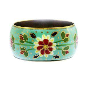Enamel Blue Flower Bracelet Bangle